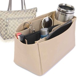 Iena MM Deluxe Leather Handbag Organizer in Dark Beige Color