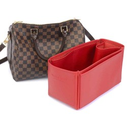 Speedy 30 Deluxe Leather Handbag Organizer in Cherry Red Color