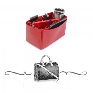 Speedy 30 Deluxe Leather Handbag Organizer in Cherry Red Color