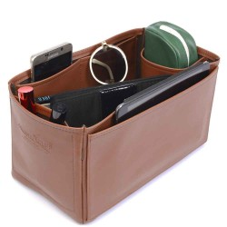 Iena MM Deluxe Leather Handbag Organizer in Brown Color
