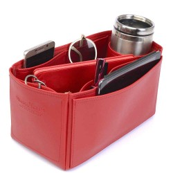 Iena MM Deluxe Leather Handbag Organizer in Cherry Red Color