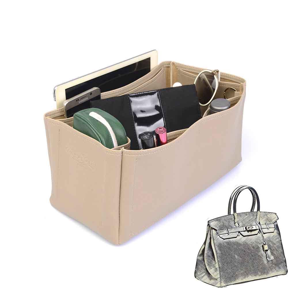 Birkin 35 Vegan Leather Handbag Organizer in Dark Beige Color