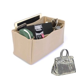 Birkin 35 Deluxe Leather Handbag Organizer in Dark Beige Color