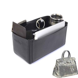 Birkin 35 Deluxe Leather Handbag Organizer in Black Color