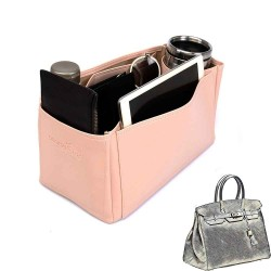 Birkin 35 Deluxe Leather Handbag Organizer in Blush Pink Color