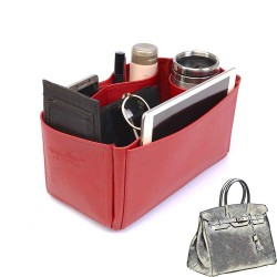 Birkin 35 Vegan Leather Handbag Organizer in Cherry Red Color