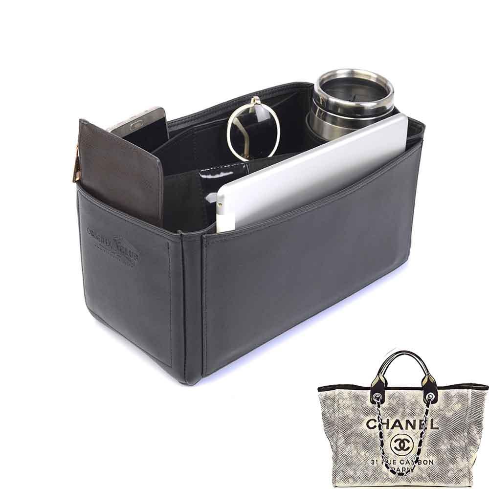 Chanel Deauville Deluxe Leather Handbag Organizer in Black Color