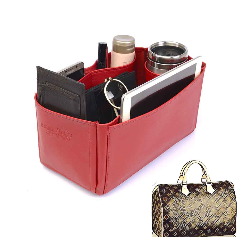 Speedy 35 Vegan Leather Handbag Organizer in Cherry Red Color