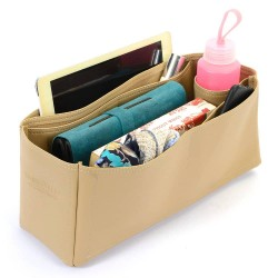 Artsy MM Vegan Leather Handbag Organizer in Dark Beige Color