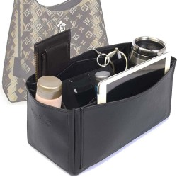 Flower Hobo Deluxe Leather Bag Organizer in Black Color