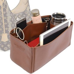 Flower Hobo Deluxe Leather Bag Organizer in Brown Color
