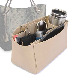 Hina MM Deluxe Leather Handbag Organizer in Dark Beige Color