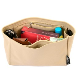 Neverfull PM / MM / GM Suedette Interior Zipped Pocket Style Leather Handbag Organizer (Beige) (More Colors Available)
