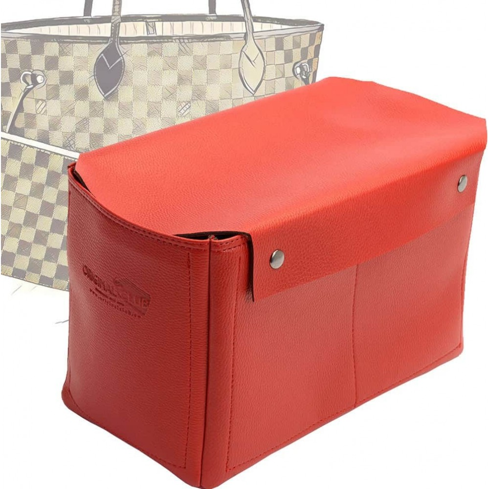 Neverfull MM Organizer with Removable Top-Closure in Vegan Leather and Cherry Red Color
