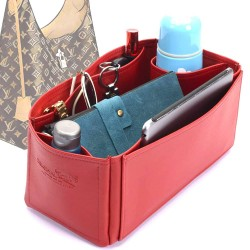 Flower Hobo Deluxe Leather Bag Organizer in Cherry Red Color