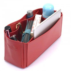 Alexa Oversized Deluxe Leather Handbag Organizer in Cherry Red Color