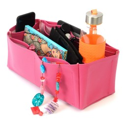 Alexa Oversized Deluxe Leather Handbag Organizer in Fuschia Color