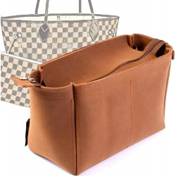Top-Zipper Style Nubuck Leather Handbag Organizer for Neverfull Models