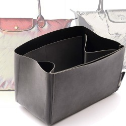 Regular Style Nubuck Leather Handbag Organizer for Le Pliage Models