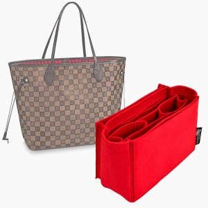 Handbag Organizer with All-in-One Style for Louis Vuitton Neverfull PM, MM and GM in Cherry Red (More Colors Available)