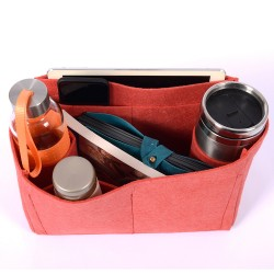 Felt Bag and Purse Organizer in Vermillion Red Color for Hermes