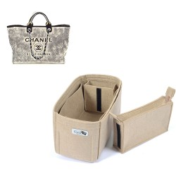 Bag and Purse Organizer with Zipped Compartment Style for Chanel Deauville Canvas Large