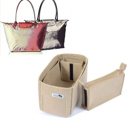 Bag and Purse Organizer with Zipped Compartment Style for Le pliage Large and Neo Large