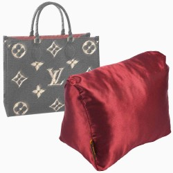 Satin Pillow Luxury Bag Shaper For Louis Vuitton Onthego MM/GM (Burgundy) (More colors available)
