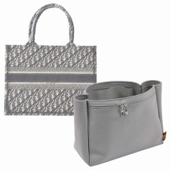 Di.or Book Tote Small Suedette Double-Zip Style Leather Handbag Organizer Liner (Dark Gray) (More Colors Available)