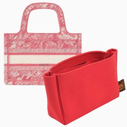Di.or Mini Book Tote Suedette Basic Style Leather Handbag Organizer Liner (Red) (More Colors Available)
