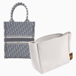 Di.or Vertical Book Tote Suedette Basic Style Leather Handbag Organizer Liner (Pearl White) (More Colors Available)