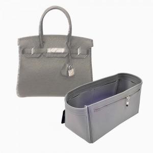 Birkin 30/35/40 Suedette Double-Zip Style Leather Handbag Organizer (Dark Gray) (More Colors Available)