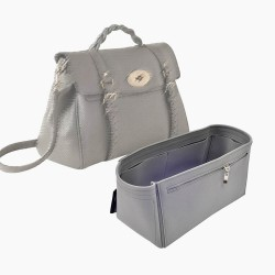 Alexa (Mulberry) Suedette Double-Zip Style Leather Handbag Organizer Liner (Dark Gray) (More Colors Available)