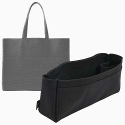 Day Market Tote Suedette Singular Style Leather Handbag Organizer (Black) (More Colors Available)