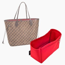 Neverfull PM / MM / GM  Suedette Double-Zip Style Leather Handbag Organizer (Red) (More Colors Available)