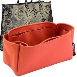 OntheGo Suedette Singular Style Leather Handbag Organizer (Orange) (More Colors Available)