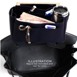 Birkin 25/30/35/40 Suedette Singular Style Leather Handbag Organizer (Black) (More Colors Available)