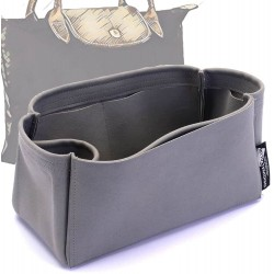 Longchamp Le Pliage  Suedette Singular Style Leather Handbag Organizer (Dark Gray) (More Colors Available)