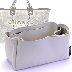 Deauville Canvas Tote Large / Medium Suedette Regular Style Leather Handbag Organizer (Pearl White) (More Colors Available)