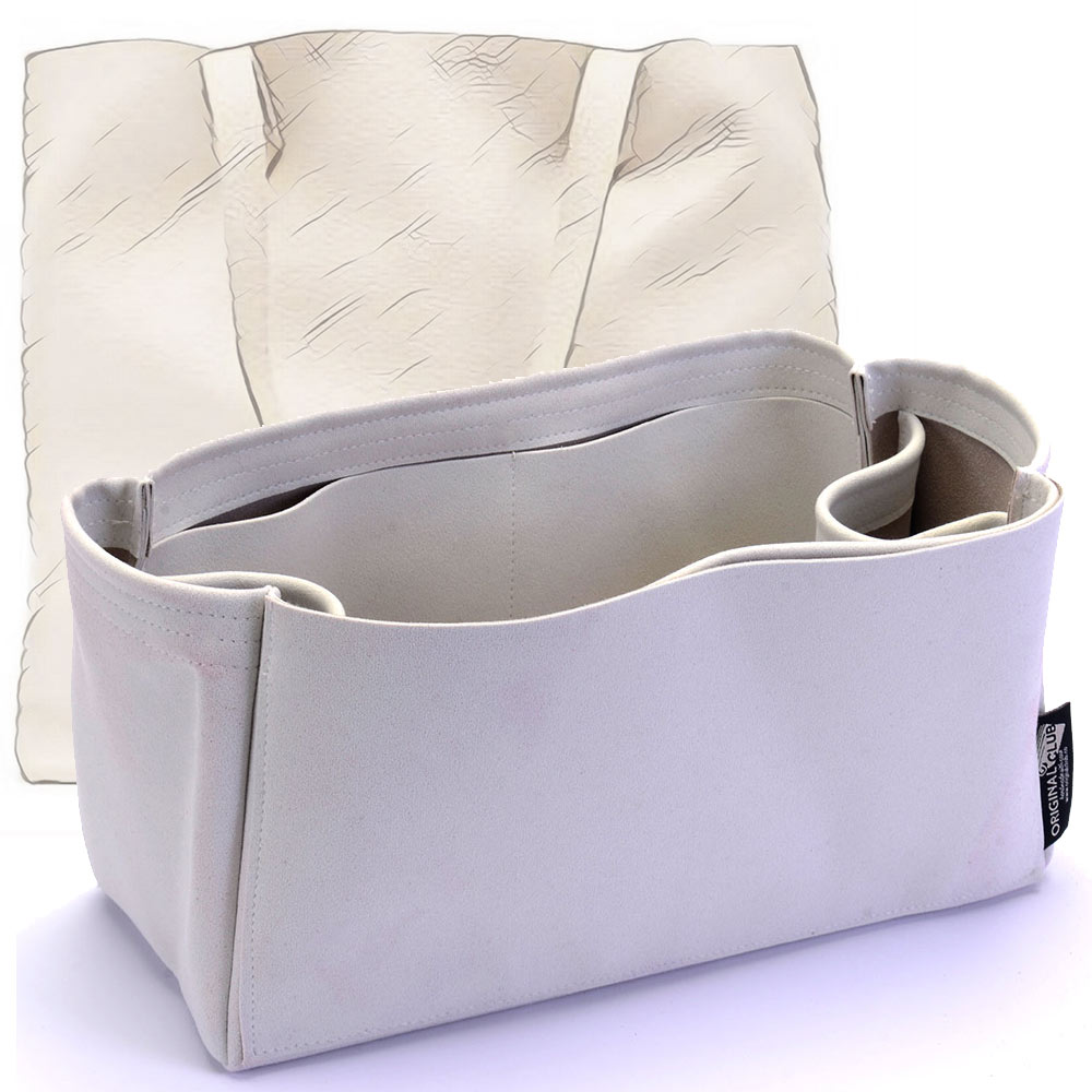 Cuyana Leather Tote Bag Suedette Regular Style Leather Handbag Organizer (Pearl White) (More Colors Available)