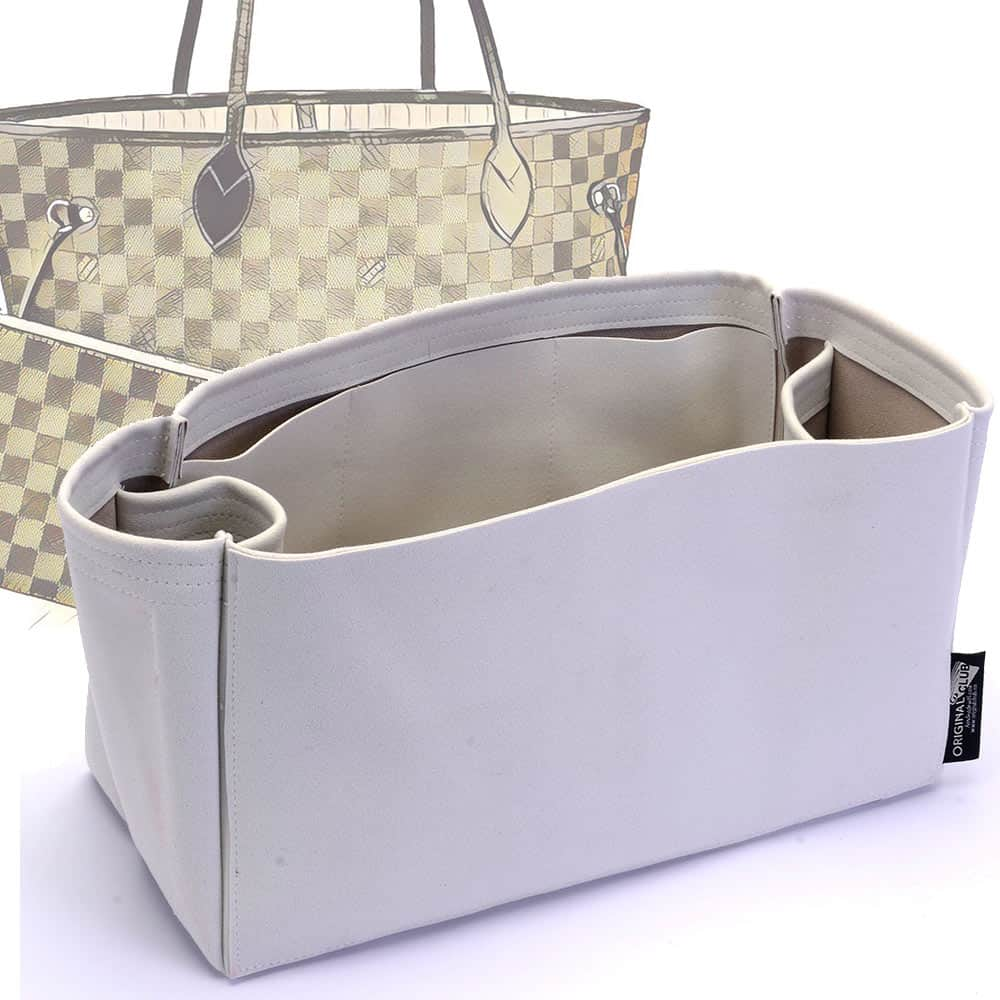 Neverfull PM / MM / GM  Suedette Regular Style Leather Handbag Organizer (Pearl White) (More Colors Available)