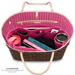 Neverfull PM / MM / GM  Suedette Regular Style Leather Handbag Organizer (Fuchsia) (More Colors Available)