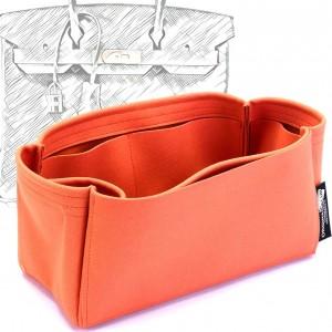 Birkin 25 /30 /35 /40 Suedette Singular Style Leather Handbag Organizer (Orange) (More Colors Available)