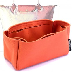 Longchamp Le Pliage  Suedette Singular Style Leather Handbag Organizer (Orange) (More Colors Available)