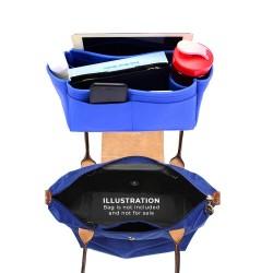 Longchamp Le Pliage  Suedette Singular Style Leather Handbag Organizer (Royal Blue) (More Colors Available)