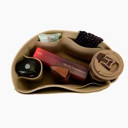 Longchamp Le Pliage Suedette Interior Zipped Pocket Style Leather Handbag Organizer (Beige) (More Colors Available)