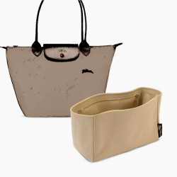 Longchamp Le Pliage Suedette Interior Zipped Pocket Style Leather Handbag Organizer (Beige) (More Colors Available)