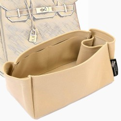 Birkin 25 / 30 / 35 / 40 Suedette Regular Style Leather Handbag Organizer (Beige) (More Colors Available)