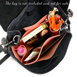 Alexa Suedette Regular Style Leather Handbag Organizer (Rose Pink) (More Colors Available)