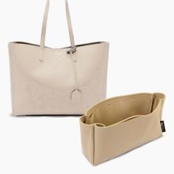 Saint Laurent Shopping Tote Bag Suedette Singular Style Leather Handbag Organizer (Beige) (More Colors Available)
